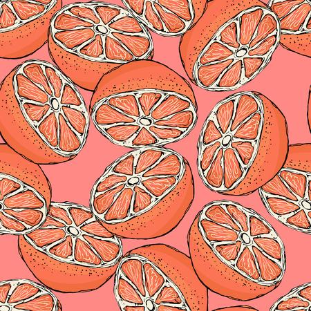 grapefruits: Seamless pattern with sliced grapefruits. Vector illustration. Illustration