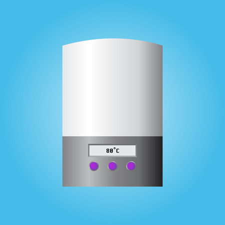 calorifer: Automatic wall water heater. Isolated on blue background. Vector illustration. Illustration