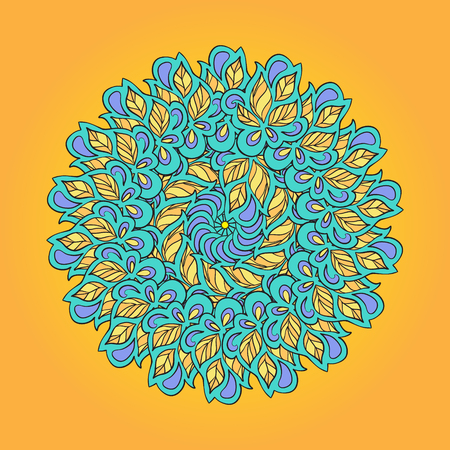 curvature: Circle ornament in ethnic style. Vector illustration.