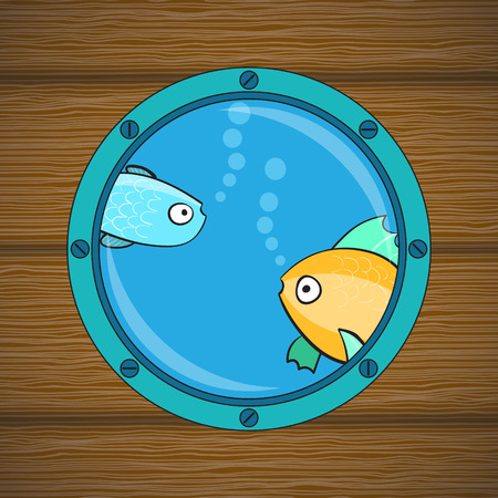 cabin: Round cabin window on the wood wall. Fish at window. Vector illustration. Illustration