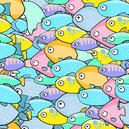 Seamless pattern with fish in cartoon style. Vector illustration.