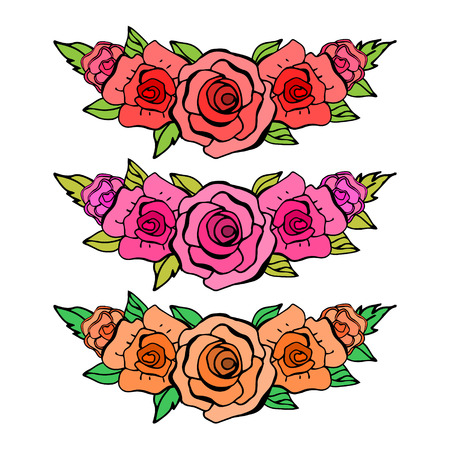 orange roses: Set of beautiful floral elements. Red, pink and orange roses. Can be used for greeting cards, wedding invitation, postcards. Vector illustration> Illustration