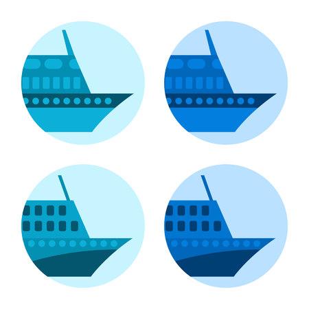 hovercraft: Passenger ship illustration. Vector icon.