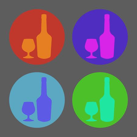 glass reflection: Bottle of cognac and glass. Vector illustration. Illustration