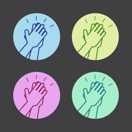 smack: Set of icons with two hands giving a high five. Vector illustration.