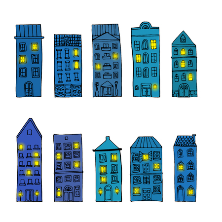town houses: Set of old town night buildings with lights in windows isolated on white background. Vector illustration.