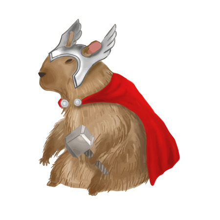 biggest animal: Capybara with helmet, hammer and cape. Vector illustration. Illustration