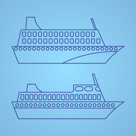 cruising: Passenger ship illustration. Vector icon.