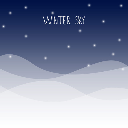 winter sky: Winter dark night sky and snow with text winter sky. vector illustration. Stock Illustratie