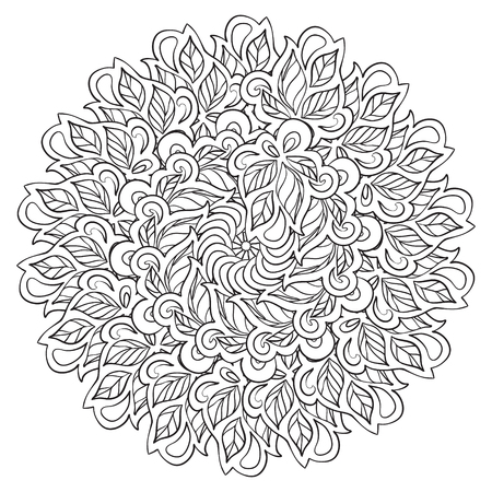 flexure: Circle ornament in ethnic style. Vector illustration.