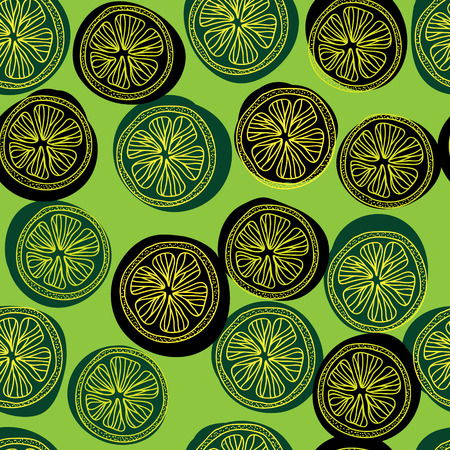 Seamless pattern with lemon slices. Vector illustration