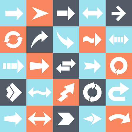 onward: Vector set of different white flat arrows.