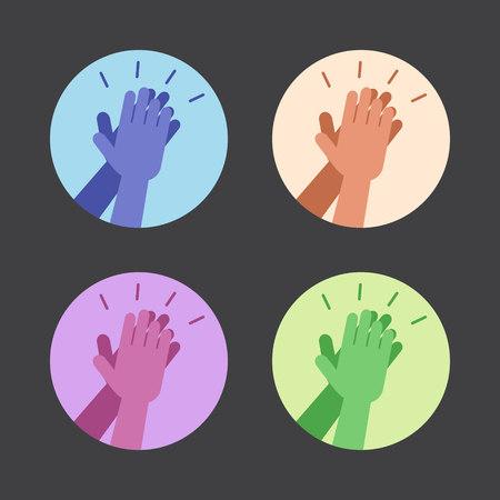 aplaudiendo: Conjunto de iconos con las dos manos dando un m�ximo de cinco. Ilustraci�n del vector. Vectores