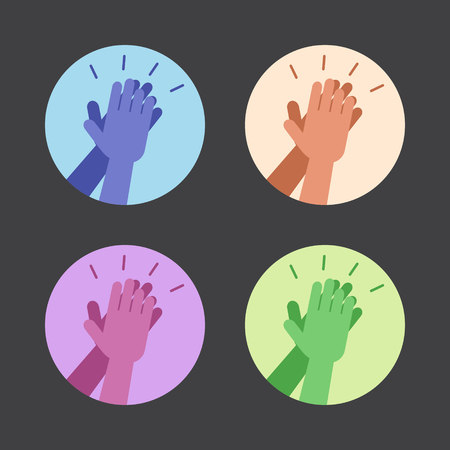 high: Set of icons with two hands giving a high five. Vector illustration.