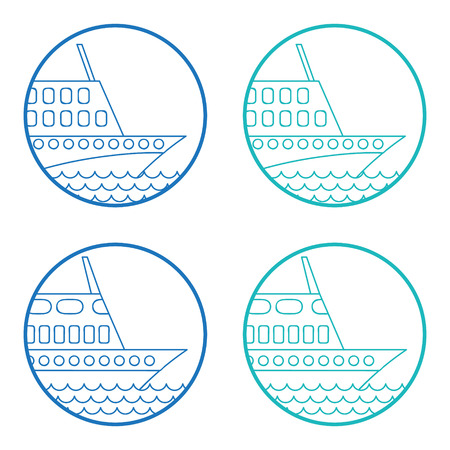 the hovercraft: Passenger ship illustration. Vector icon.