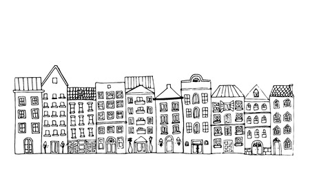 old town: Buildings of old town. Vector illustration. Illustration
