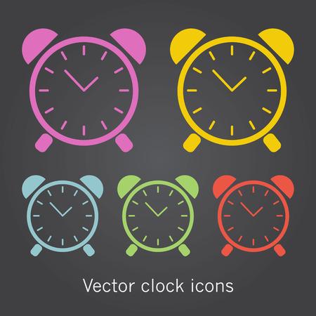 timekeeper: Set of simple clock icons. Vector isllustration.