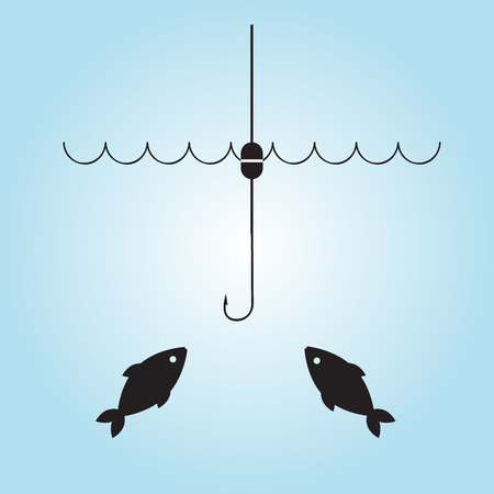 fishhook: Fishing hook and fish. Vector illustration.
