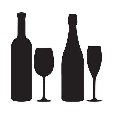 siluettes: Illustration of siluettes of bottles and glasses of wine and shampagne. Vector illustration.