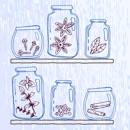 limpid: Set of pellucid glass jars with different spices in sketch style. Vector illustration. Illustration
