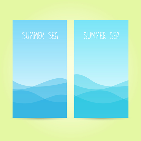 lop: Two cards with text summer sea on blue sea background. Vector illustration.