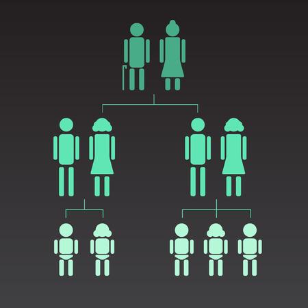 genealogical: Illustration of genealogical tree.