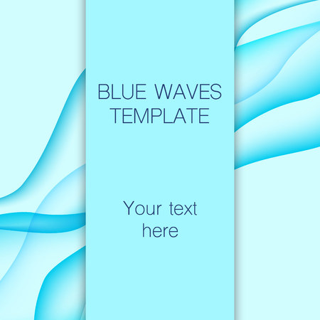 swell: Card with blue waves on background. Vector illustration