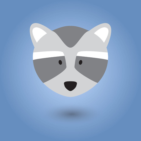 racoon: Flat face of racoon. vector illustration. Illustration