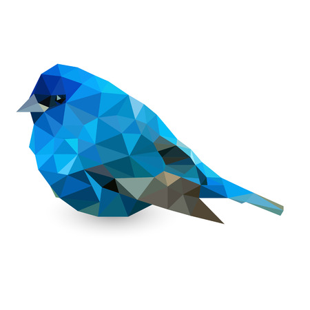 art contemporary: Picture of bird made with triangles in blue colors on white background Illustration