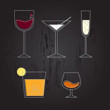 spirituous beverages: Set of different drinks