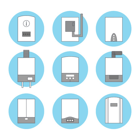gas boiler: Set of icons of different white gas boilers on blue background. Vcetor illustration.