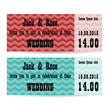 vintage riffle: Set of two wedding invitations.  Vector illustration. Illustration