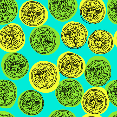 citric: Seamless pattern with lemon slices. Vector illustration