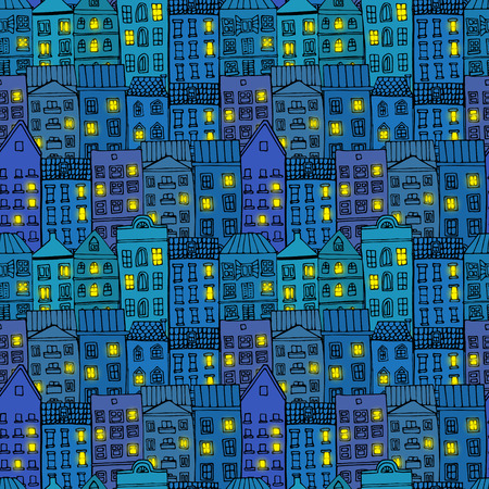 town houses: Seamless pattern with town at night