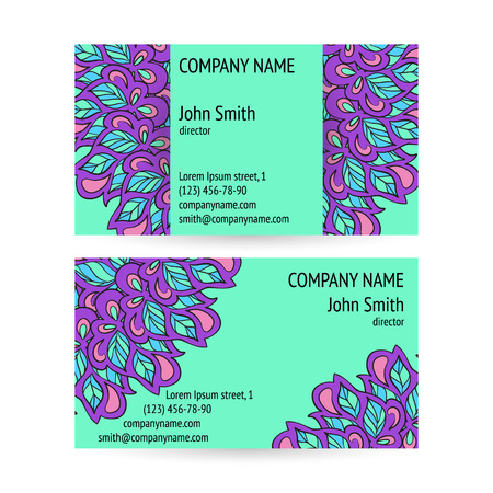 flexure: Set of business cards with ethnic circle ornament.