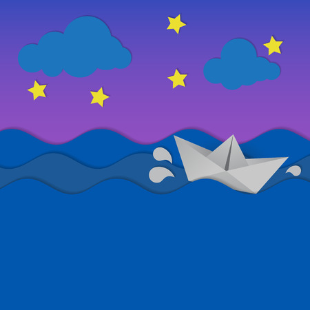 vintage riffle: Paper waves and origami boat at night.