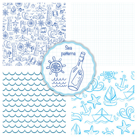 vintage riffle: Set of four seamless patterns with sea elements