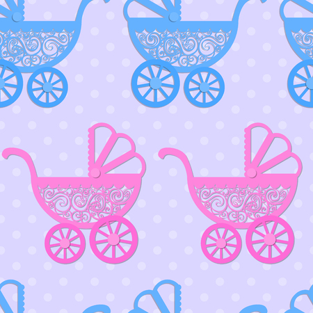 meandering: Seamless pattern with paper baby prams.