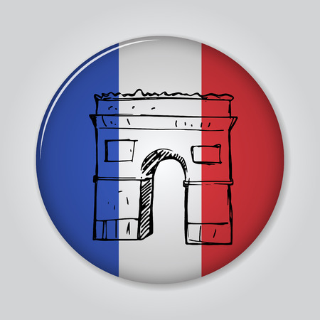 triumphal: Badge with triumphal arch in sketch style. Illustration