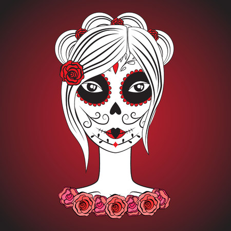 tattoo girl: Girl with make up for day of dead.