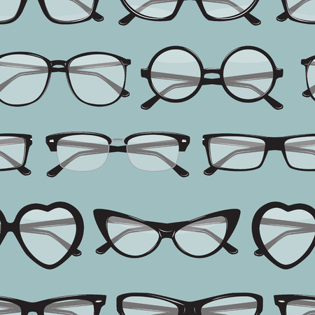 diopter: Seamless pattern with different glasses.