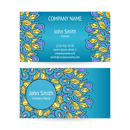 meandering: Set of business cards with ethnic circle ornament.