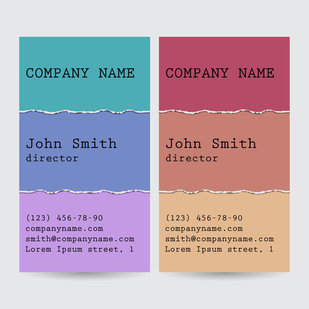 Set of business cards with lacerated paper. Illustration
