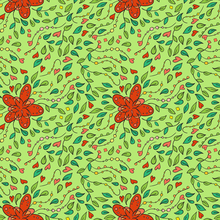 meandering: Seamless pattern with convoluted floral ornament.
