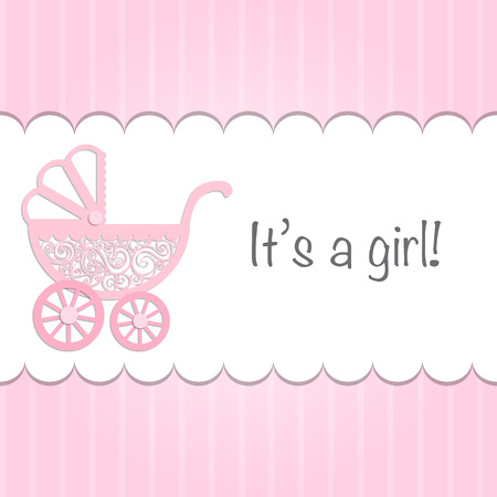 flexure: Paper baby pram with text Its a girl!.