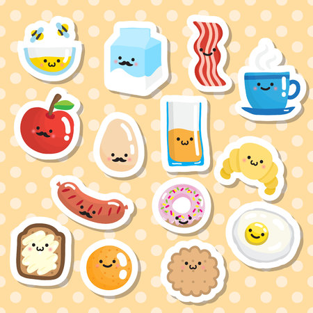 mead: Set of stickers with smiling breakfast food. Illustration