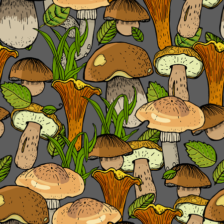 Seamless pattern with different mushrooms.