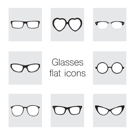 diopter: Set of glasses icons. Illustration