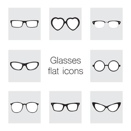 Set of glasses icons. Illustration