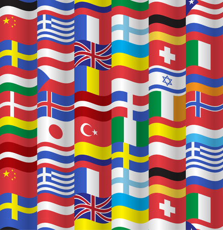 world flags: World flags collection illustration. Seamless pattern Illustration